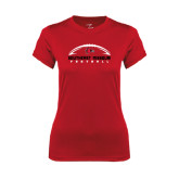 State Ladies Syntrel Performance Red Tee-Arched Football Design