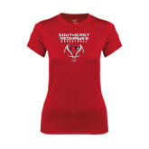 State Ladies Syntrel Performance Red Tee-Graphics on Basketball