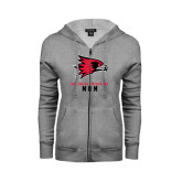 Ladies Grey Fleece Full Zip Hoodie-Mom