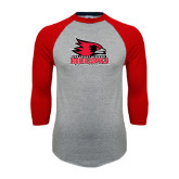 Grey/Red Raglan Baseball T-Shirt-Official Logo