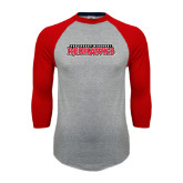 Grey/Red Raglan Baseball T-Shirt-Southeast Missouri Redhawks
