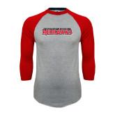 Grey/Red Raglan Baseball T Shirt-Southeast Missouri Redhawks