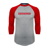 Grey/Red Raglan Baseball T-Shirt-Redhawks