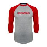 Grey/Red Raglan Baseball T Shirt-Redhawks