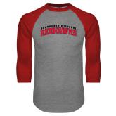 Grey/Red Raglan Baseball T Shirt-Arched Southeast Missouri Redhawks