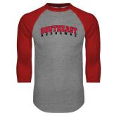 Grey/Red Raglan Baseball T Shirt-Southeast Redhawks