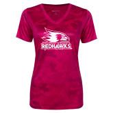 Bookstore Ladies Pink Raspberry Camohex Performance Tee-Primary Logo
