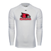 State Under Armour White Long Sleeve Tech Tee-Official Logo