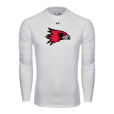 State Under Armour White Long Sleeve Tech Tee-Redhawk Head