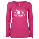 Bookstore ENZA Ladies Hot Pink Long Sleeve V Neck Tee-Primary Logo