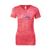 Next Level Ladies Junior Fit Fuchsia Burnout Tee-Official Logo Foil