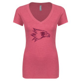 Bookstore Next Level Ladies Vintage Pink Tri Blend V Neck Tee-Redhawks Hot Pink Glitter