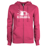 Bookstore ENZA Ladies Fuchsia Fleece Full Zip Hoodie-Primary Logo