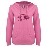 Bookstore ENZA Ladies Hot Pink V Notch Raw Edge Fleece Hoodie-Redhawks Hot Pink Glitter