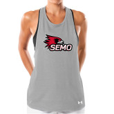 Bookstore Ladies Under Armour Grey Pinhole Tank-SEMO Logo