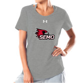 Bookstore Ladies Under Armour Grey Charged Cotton Tee-SEMO Logo