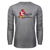 Grey Long Sleeve T-Shirt-Walk For Redhawks