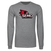 Bookstore Grey Long Sleeve T Shirt-SEMO Logo with Redhawks