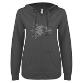 Bookstore ENZA Ladies Dark Heather V Notch Raw Edge Fleece Hoodie-Redhawk Silver Soft Glitter