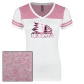Bookstore Ladies White/Heathered Pink Juniors Varsity V Neck Tee-Primary Logo Foil
