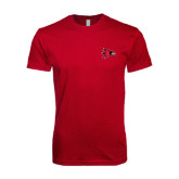 Next Level SoftStyle Cardinal T Shirt-Redhawk Head