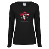 Ladies Black Long Sleeve V Neck T Shirt-2017 OVC Mens Outdoor Track and Field Champions back to back