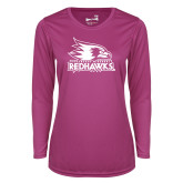 Bookstore Ladies Syntrel Performance Raspberry Longsleeve Shirt-Primary Logo