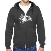 Bookstore Charcoal Fleece Full Zip Hoodie-Hawk Head