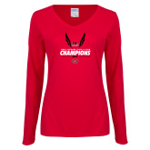 Bookstore Ladies Red Long Sleeve V Neck T Shirt-2017 OVC Mens Outdoor Track and Field Champions