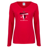 Bookstore Ladies Red Long Sleeve V Neck T Shirt-2017 OVC Mens Outdoor Track and Field Champions back to back