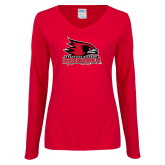Bookstore Ladies Red Long Sleeve V Neck Tee-Primary Logo