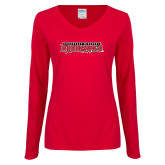 Bookstore Ladies Red Long Sleeve V Neck Tee-Southeast Missouri Redhawks