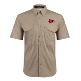 Khaki Short Sleeve Performance Fishing Shirt-Redhawk Head