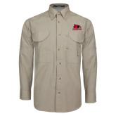 Khaki Long Sleeve Performance Fishing Shirt-Primary Logo