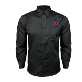 State Red House Black Long Sleeve Shirt-Redhawk Head