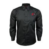 State Red House Black Long Sleeve Shirt-Redhawk Head