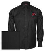 Bookstore Red House Black Herringbone Long Sleeve Shirt-Hawk Head