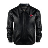 Black Leather Bomber Jacket-Redhawk Head