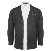 Bookstore Charcoal V Neck Cardigan w/Pockets-Primary Logo