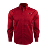 State Red House Red Long Sleeve Shirt-Redhawk Head
