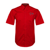 Red Twill Button Down Short Sleeve-Redhawk Head