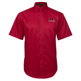 Bookstore Red Twill Button Down Short Sleeve-Primary Logo