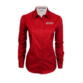 Ladies Red Twill Button Down Long Sleeve-Southeast Missouri Redhawks