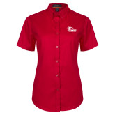 Bookstore Ladies Red Twill Button Up Short Sleeve-SEMO Logo Embroidery