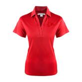 Ladies Red Performance Fine Jacquard Polo-Redhawk Head
