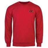 Red Fleece Crew-Redhawk Head