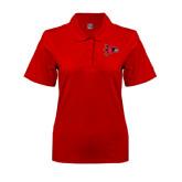 Ladies Easycare Red Pique Polo-Redhawk Head
