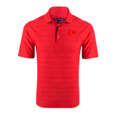 Red Horizontal Textured Polo-Redhawk Head