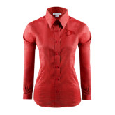 Ladies Red House Red Long Sleeve Shirt-Redhawk Head
