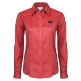 Bookstore Ladies Red House Red Long Sleeve Shirt-Primary Logo
